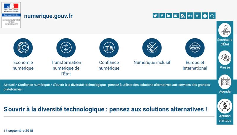 Numerique.gouv.fr – liste de services / d'applications alternatives